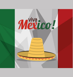 Viva mexico greeting flag hat concept vector