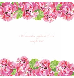 Watercolor geranium flowers card vector image
