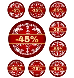Winter sale tags with 5 - 85 percent text vector