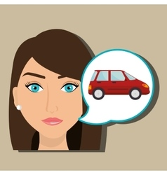 Woman car vehicle transport vector