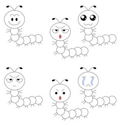 Worm face many emotions vector