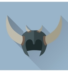 Helmet headpiece with horns medieval armour vector