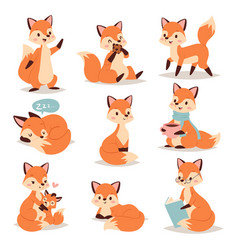 Fox cute adorable character doing different vector
