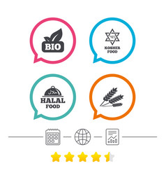 natural bio food icons halal and kosher signs vector image