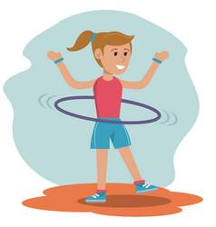 Character girl doing hula hoops play vector