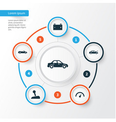 Automobile icons set collection of convertible vector