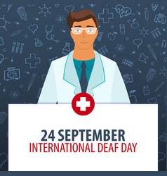 24 september international deaf day medical vector