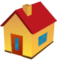 Yellow house with red roof vector
