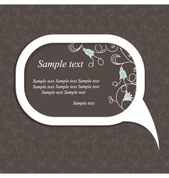 floral speech bubble dark2 vector image