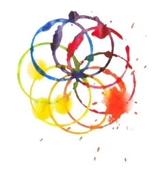 Decorative color circle splash watercolor and vector