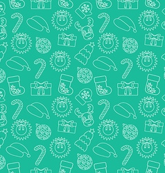 Christmas seamless doodle background green vector