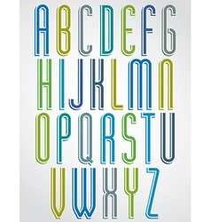 Thin narrow bright animated font uppercase letters vector image