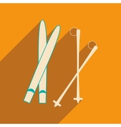 Flat with shadow icon and mobile applacation skis vector