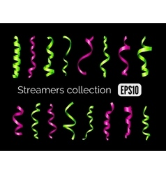 Collection of shiny green streamers and pink party vector