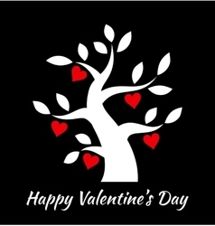 Valentines day vintage tree with hearts icons vector