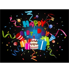 birthday background with confetti and cake vector image