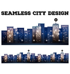 Seamless city buildings with light on vector