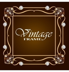 Gold frame with diamond vintage frame vector