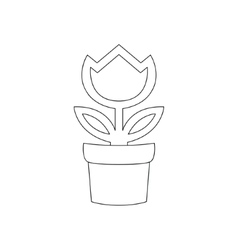 Flower in pot icon isolated on white background vector