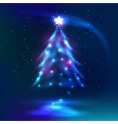 Christmas tree dark glowing background vector