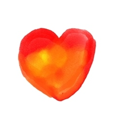 Watercolor painted red heart element for vector