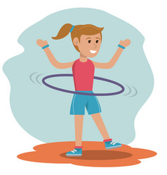 character girl doing hula hoops play vector image vector image