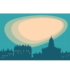 City silhouette retro background vector