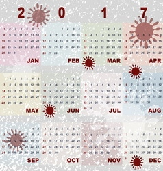 Color splash template of 2017 calendar vector