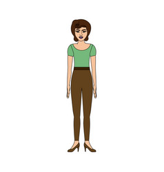 Colorful silhouette of woman with green t-shirt vector
