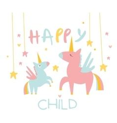 Cute small unicorn with mom vector