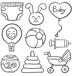doodle of baby on white background vector image vector image