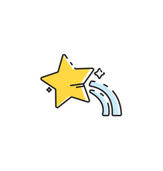 Flat color star icon vector