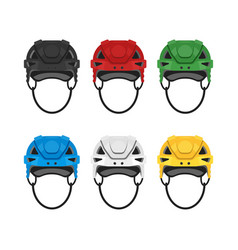 flat style set of hockey helmet icon for web vector image vector image