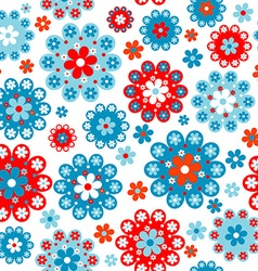 Floral seamless with red and blue flowers vector image