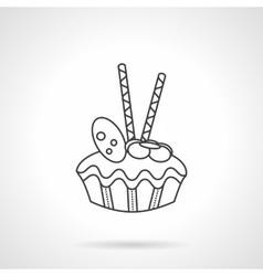 Fruitcake flat line icon vector image vector image