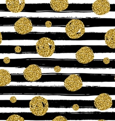 Gold circles on black handdrawn line trendy vector