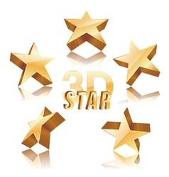 golden 3d stars vector image vector image
