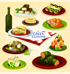 Greek cuisine healthy lunch cartoon poster vector