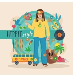 Hippie character pack for man vector
