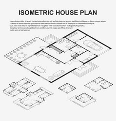 Isometric architectural plans vector