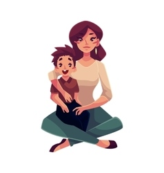 Mother and son sitting on the floor hugging each vector