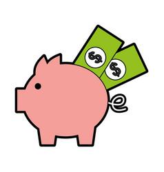 piggy savings with bills vector image vector image