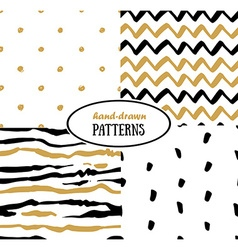 Set of abstract seamless patterns in gold white vector image vector image
