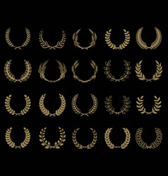 set of wreaths icons in golden style design vector image