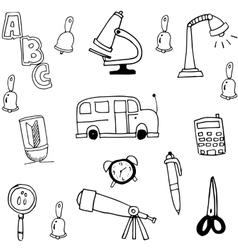 Tools school hand draw in doodle vector