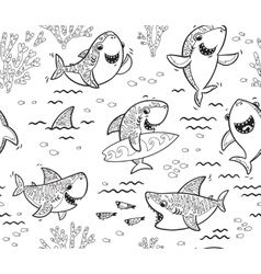 Underwater world with funny sharks outline vector
