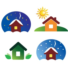 Set of house icons different season and weather vector