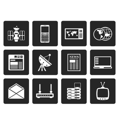 Black Communication and Business Icons vector image