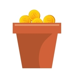 Money plant with coins vector