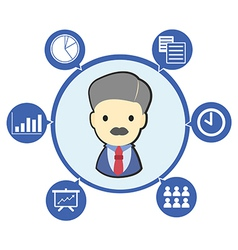 Businessman boss with office business symbol and vector image